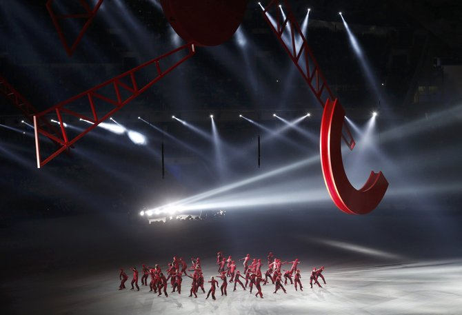 Performers take part in the opening ceremony of the 2014 Sochi Winter Olympics